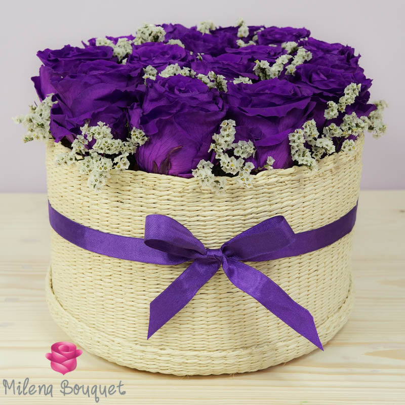 Purple Roses Flower Basket  | Preserved Large Roses - Milena Bouquet