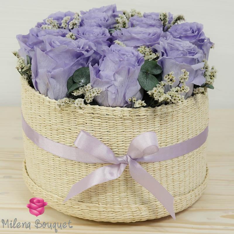 Lavender Roses Flower Basket  | Preserved Large Roses - Milena Bouquet