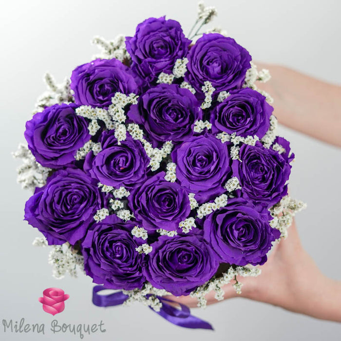 Purple Roses Flower Basket  | Preserved Large Roses
