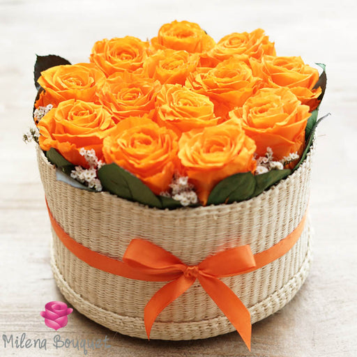 Orange  Roses Flower Basket | Preserved Large Orange Roses - Milena Bouquet