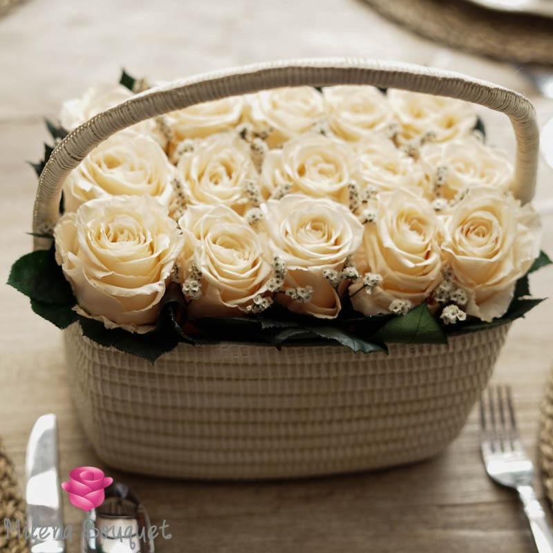 Cream Roses Flower Basket  | Preserved Large Roses - Milena Bouquet