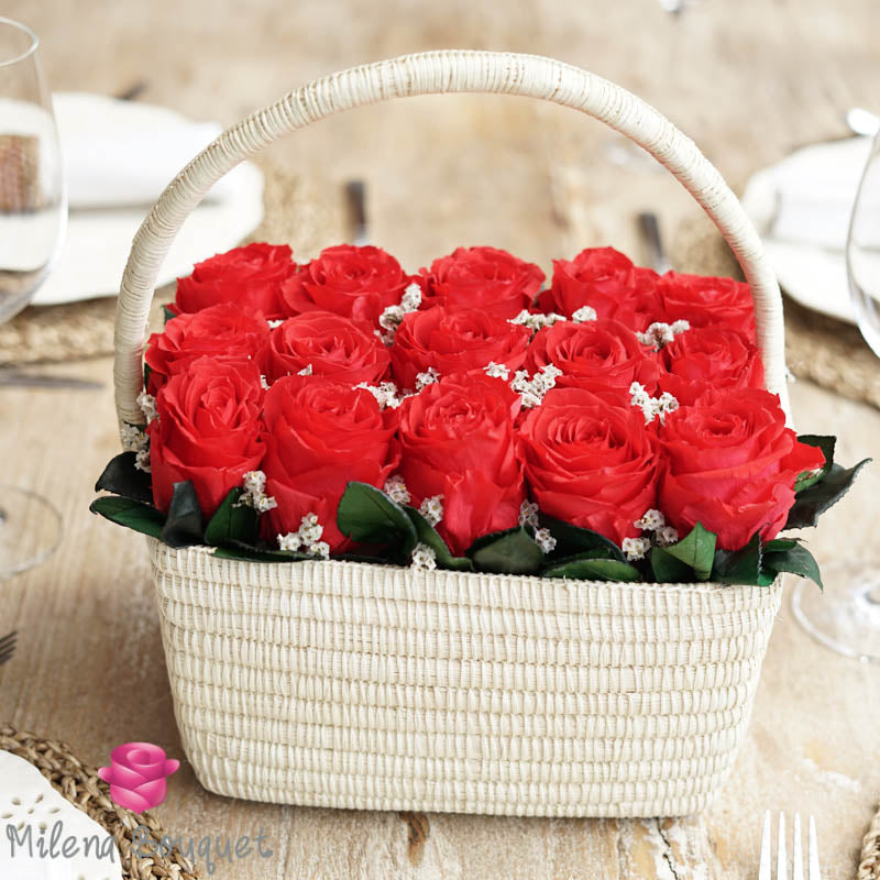 Red Roses  Flower Basket  | Preserved Large Roses - Milena Bouquet