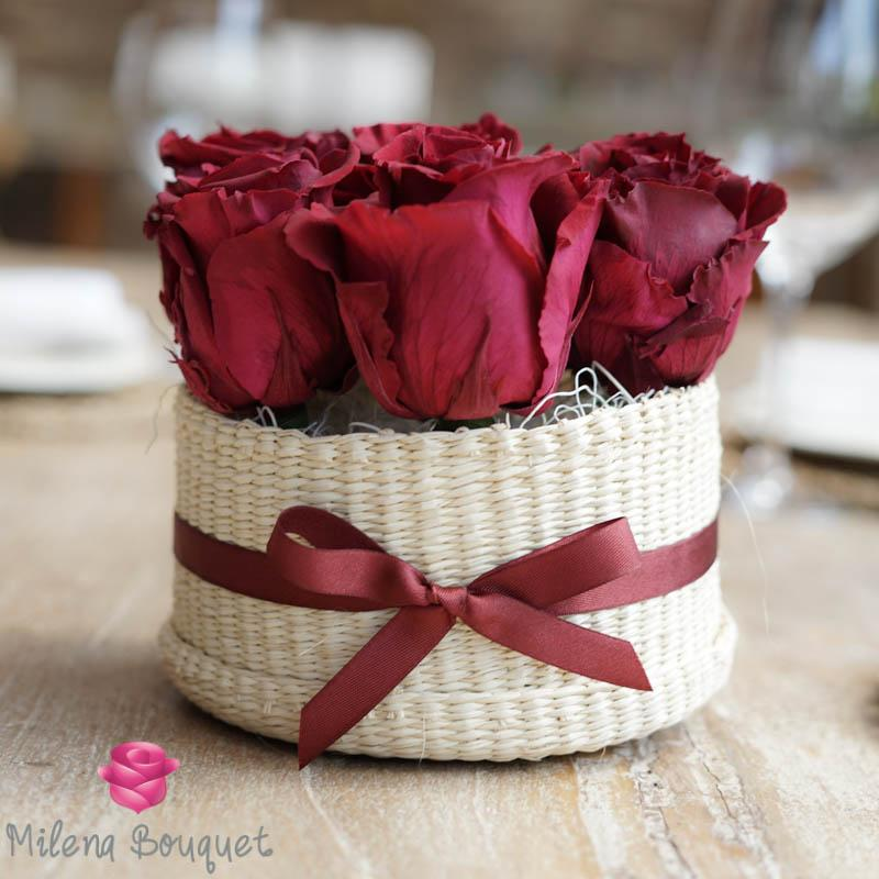 Burgundy Red  Roses Flower Basket  | Preserved Roses - Milena Bouquet