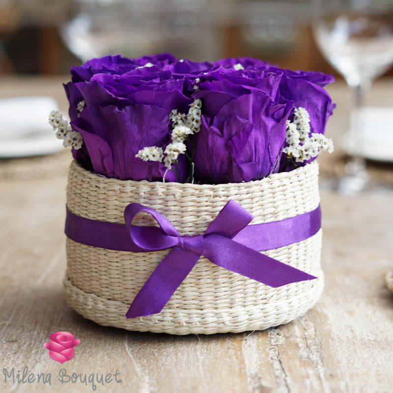 Purple  Roses Flower Basket  | Preserved Roses - Milena Bouquet