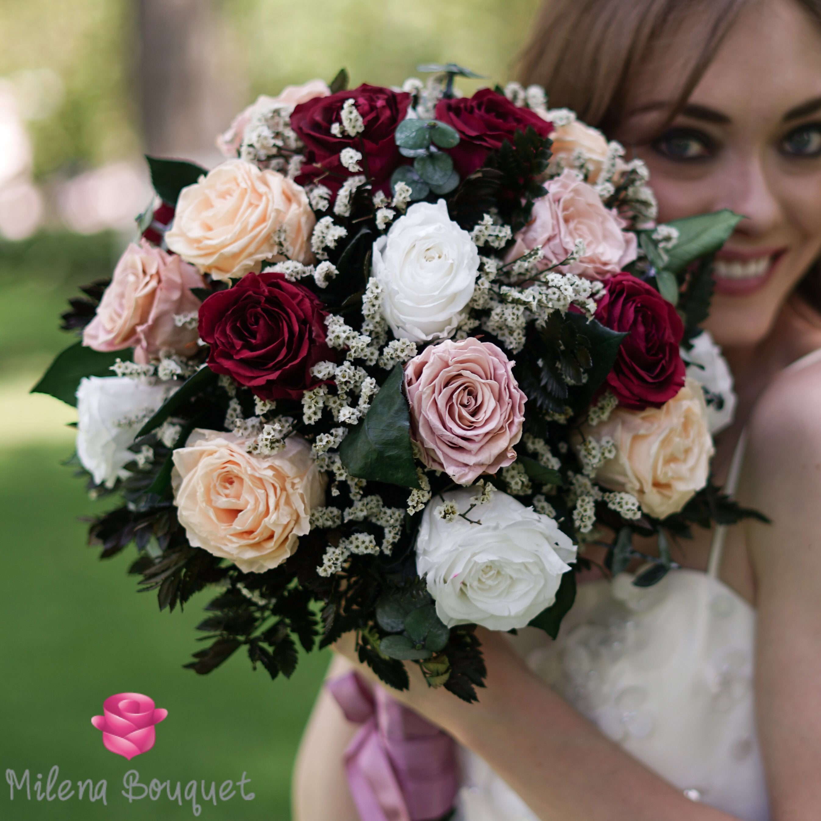 Burgundy and Cinnamon Wedding Bouquet | Preserved Large Roses - Milena Bouquet