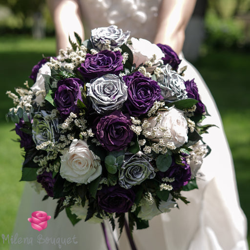 Plum Rose and Light Pink Wedding Bouquet | Preserved Large Roses - Milena Bouquet