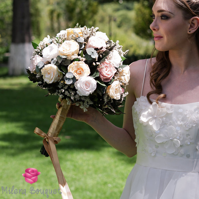 Gold and Vintage Pink Wedding Bouquet | Preserved Large Roses - Milena Bouquet