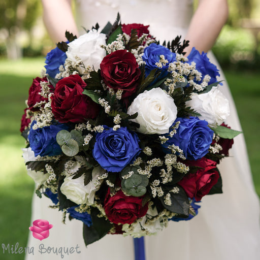 Navy Blue and Burgundy Wedding Bouquet | Preserved Large Roses - Milena Bouquet