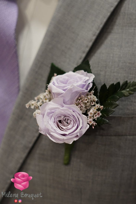 Lavender Rose Boutonniere And Corsage Combo Pack - Milena Bouquet
