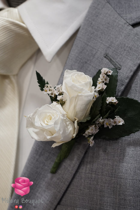 White Rose Boutonniere And Corsage Combo Pack - Milena Bouquet