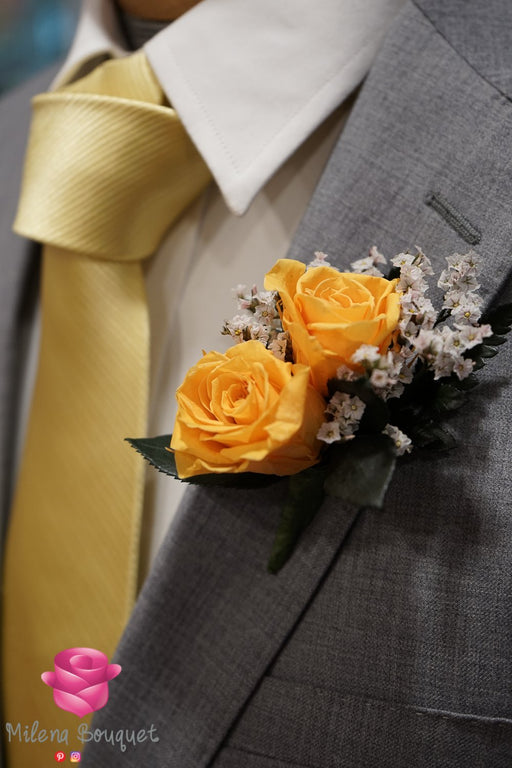 Classic Yellow Rose Boutonniere And Corsage Combo Pack - Milena Bouquet