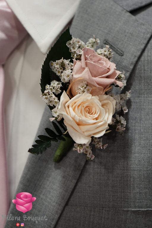 Light Pink Rose Boutonniere And Corsage Combo Pack - Milena Bouquet