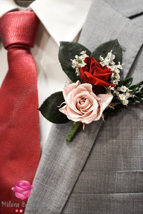Vintage Pink and Burgundy Red Rose Boutonniere And Corsage Combo Pack - Milena Bouquet