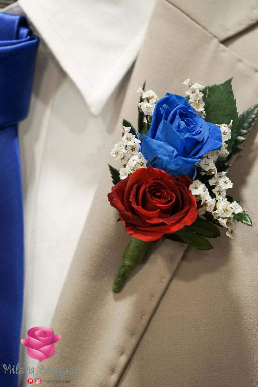 Navy Blue and Burgundy Red Rose Boutonniere And Corsage Combo Pack - Milena Bouquet