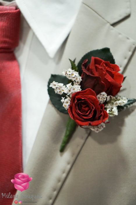 Burgundy Red Rose Boutonniere And Corsage Combo Pack - Milena Bouquet