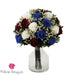 Navy Blue and Wine Roses Centerpiece Bouquet | Preserved Large Roses - Milena Bouquet