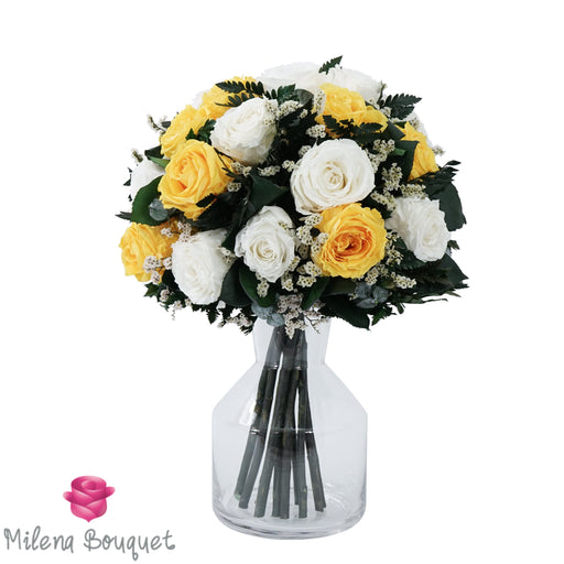 Yellow and White Roses Centerpiece Bouquet | Preserved Large Roses - Milena Bouquet