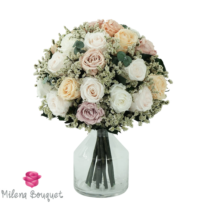 Cream and Ivory Rose Bouquet | Preserved Large Roses - Milena Bouquet