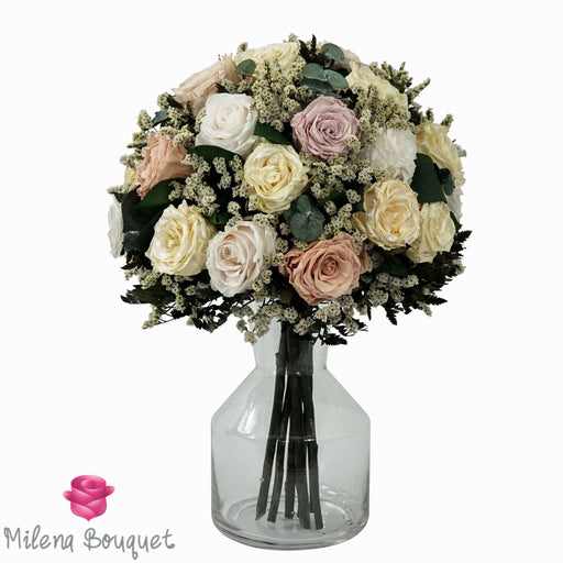 Gold and Vintage Pink Roses Centerpiece Bouquet | Preserved Large Roses - Milena Bouquet