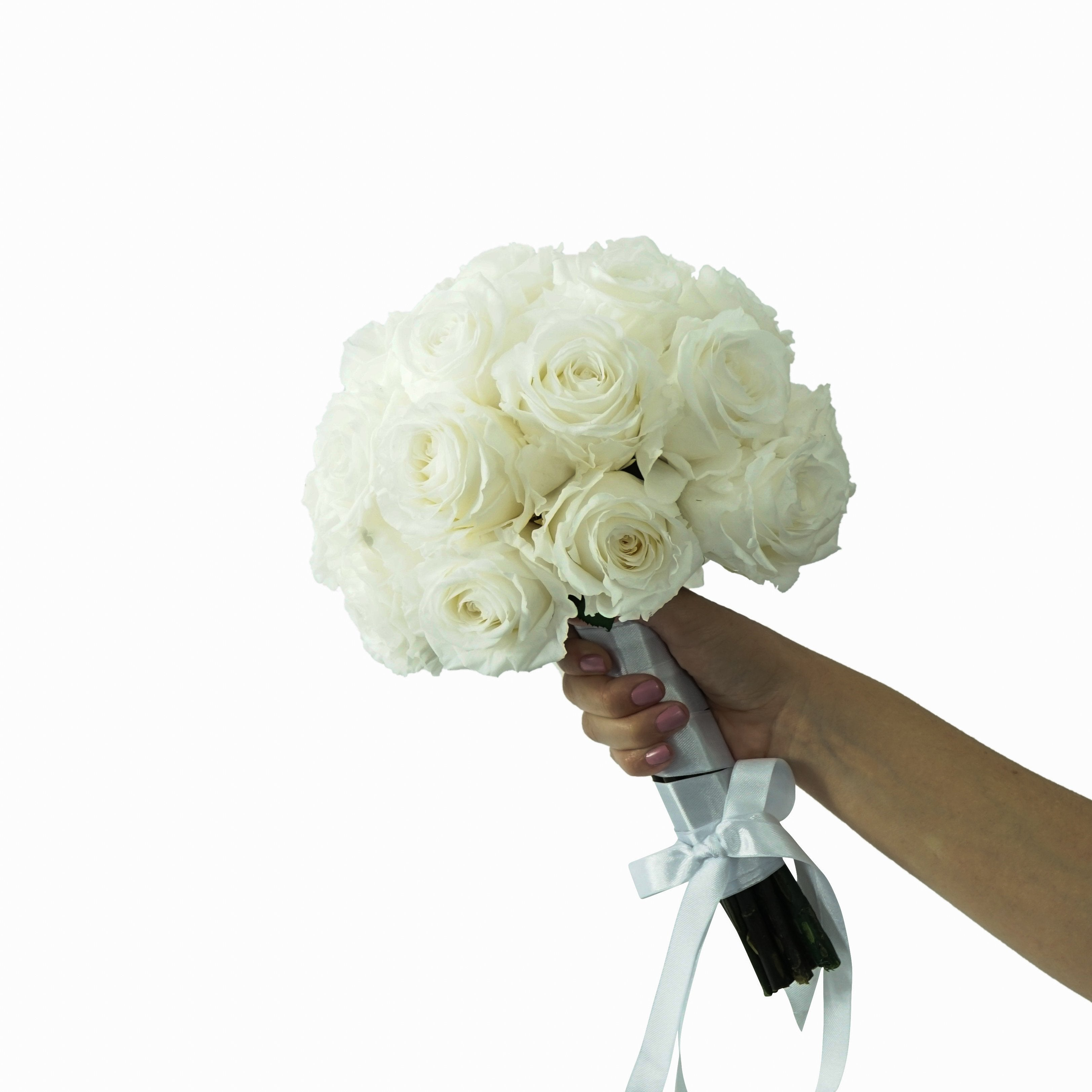 Eternal White Roses Bouquet | Preserved Large Roses - Milena Bouquet