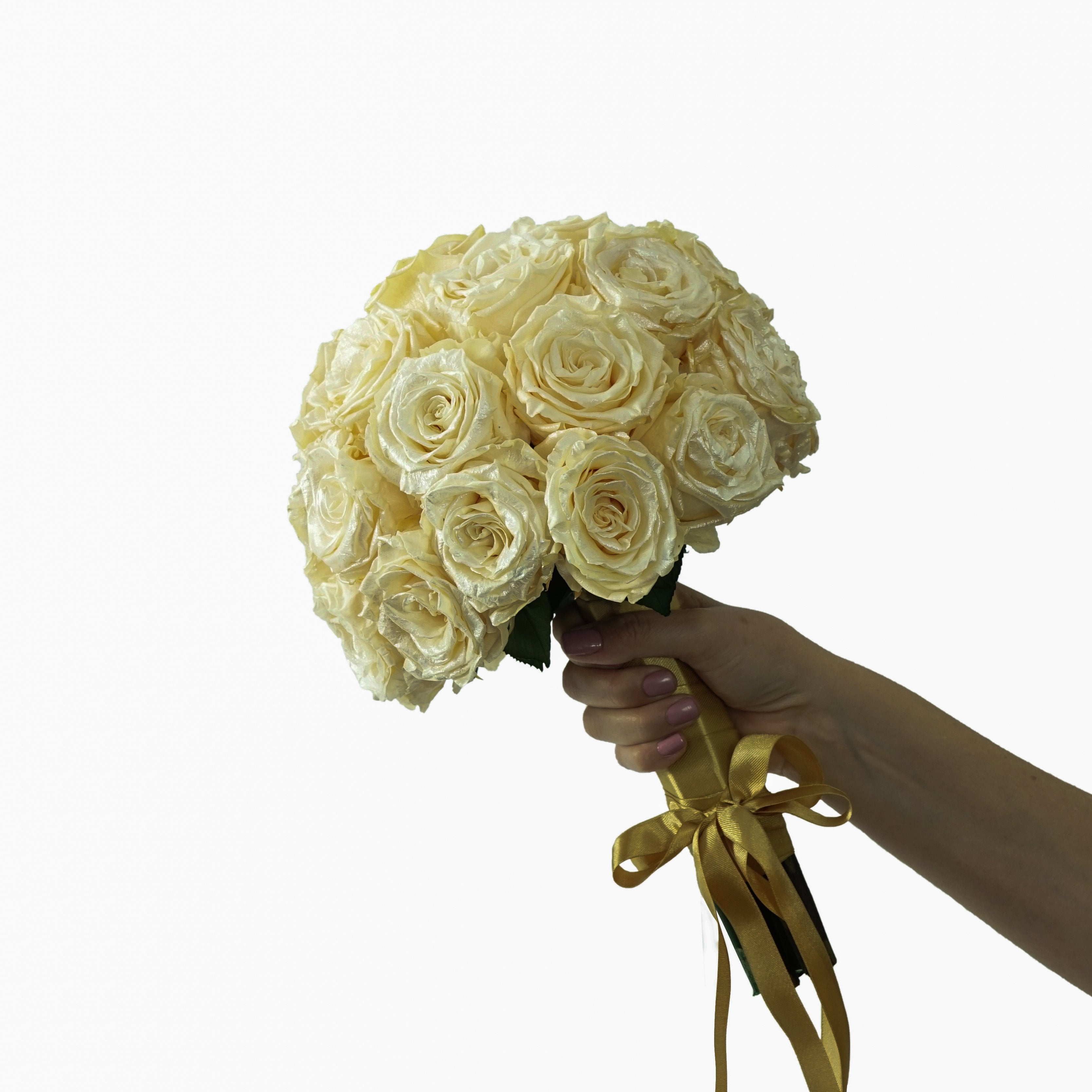 Eternal Gold Roses Bouquet | Preserved Large Roses - Milena Bouquet