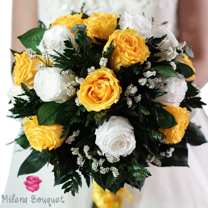 Yellow and White Wedding Bouquet | Preserved Large Roses - Milena Bouquet
