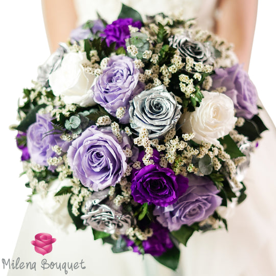 Lavender and Silver Wedding Bouquet | Preserved Large Roses - Milena Bouquet