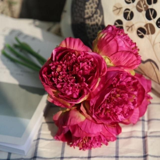 5 pc Peony Artificial Flower Bouquet - Milena Bouquet