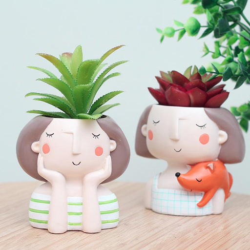 Cute Boy and Girl Flowerpot Planter Desktop Vase - Milena Bouquet