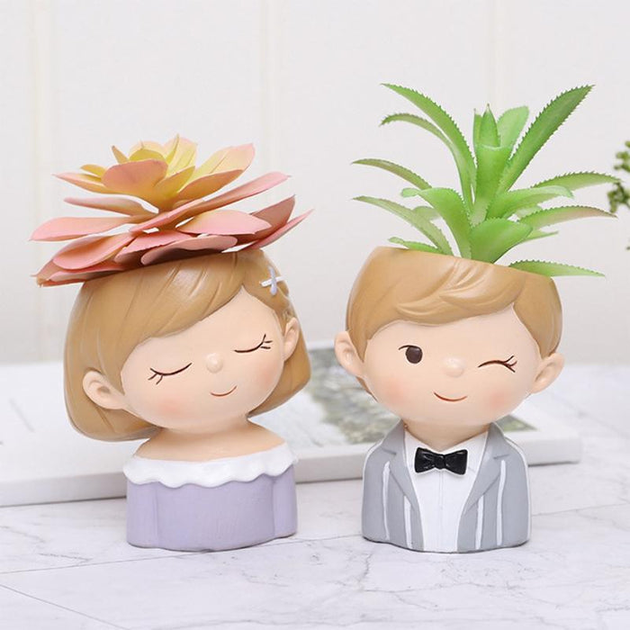 Cute Boy and Girl FlowerPot Planter Desktop Vase  - Set 4Pcs - Milena Bouquet