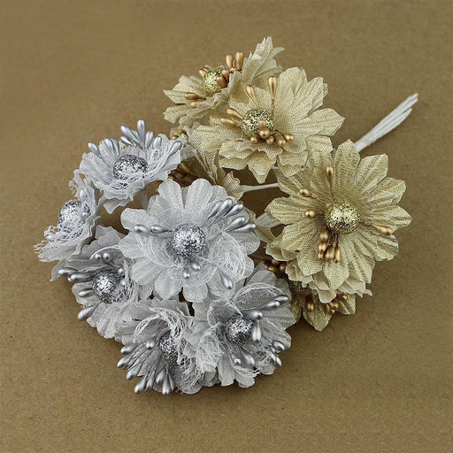 6 pcs Golden Silver Daysi with Glitter - Milena Bouquet