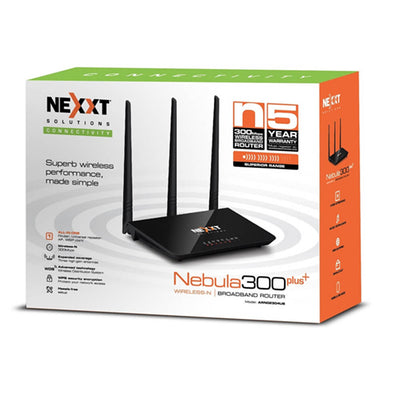 Nexxt Router Wireless N High Power Amp 300+ 300Mbps