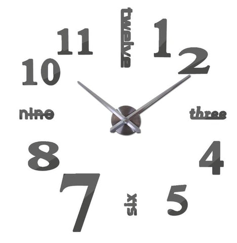 Quartz 3d Real Big Wall Clock Rushed Mirror Wall Clocks With 60% off And Free Shipping