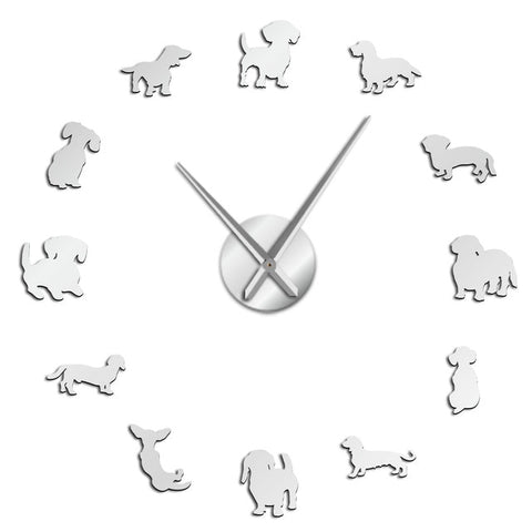 DIY Dachshund Wall Art Wiener-Dog Puppy Dog Pet Frameless Giant Wall Clock With Free Shipping