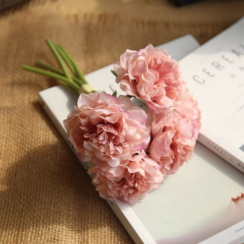 Artificial Flowers Peony Bouquet for Wedding Decoration 5 Heads Peonies With 60% Off and Free Shipping