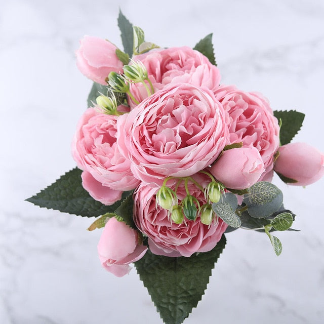 30cm Rose Pink Silk Peony Artificial Flowers Bouquet 5 Big Head and 4 Bud With 60% Off and Free Shipping