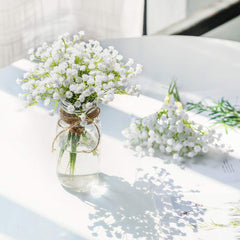 CHENCHENG 1 Piece White Babies Breath Flowers Artificial Fake Gypsophila DIY Floral Bouquets Arrangement Wedding Home Decor