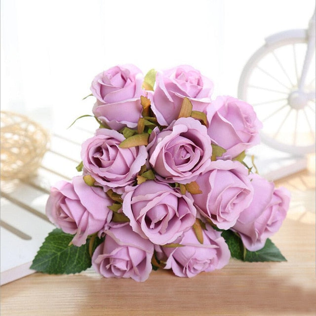 Modern Rose Silk Artificial Flowers Bouquets for Wedding Home Party Decoration Up to 60% off and Free Shipping