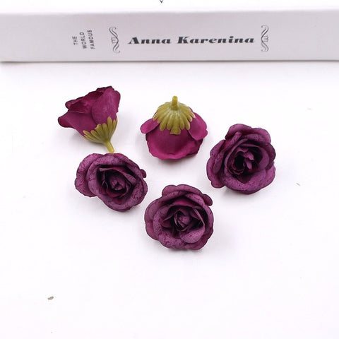 10pcs 4cm artificial flower silk rose flower head wedding home party decoration DIY flower wall scrapbook gift box craft
