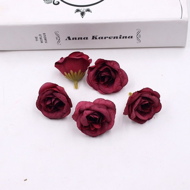 Silk Rose Artificial Flower 10pcs 4cm For Wedding Home Party Decoration Up to 60& off and Free Shipping