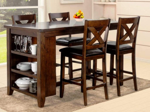 Brown Wood Counter Height 5pc Dining Table & Chair Set