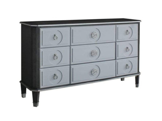 Gray Wood And Metal Dresser