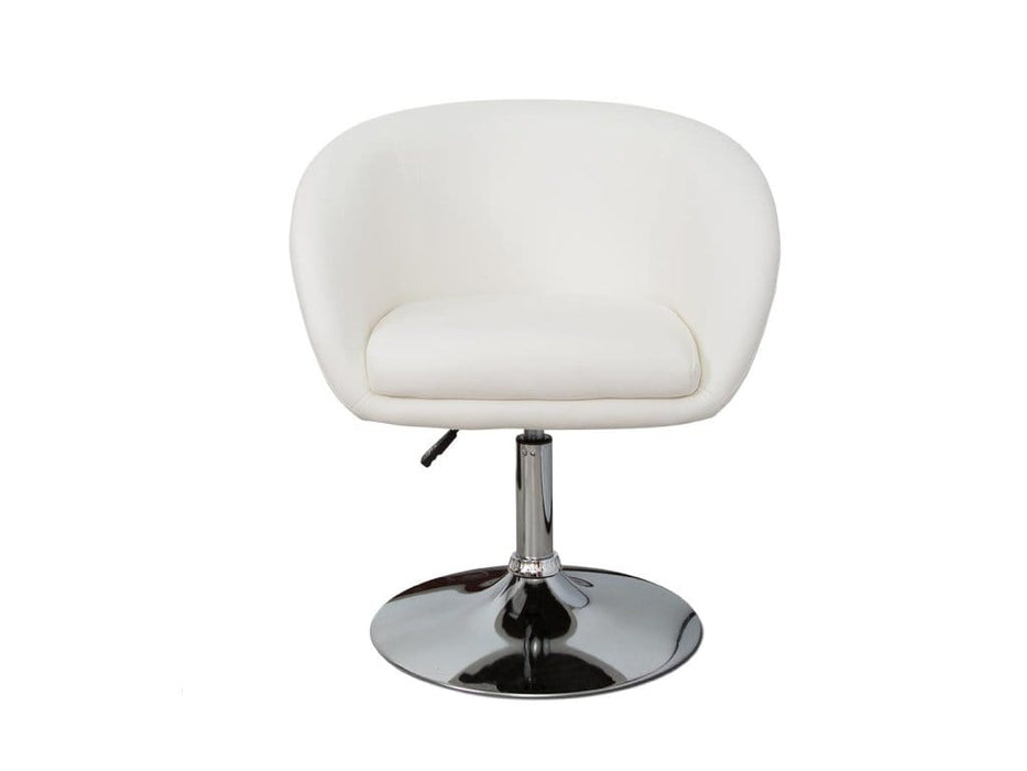 White Faux Leather Vanity Stool