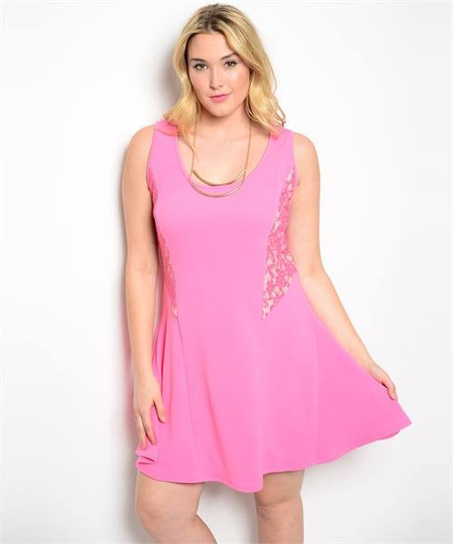 Dress Plus Pink Lace on Side