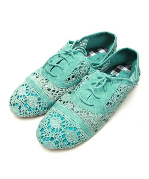 Shoe Crochet Flat Pump Mint