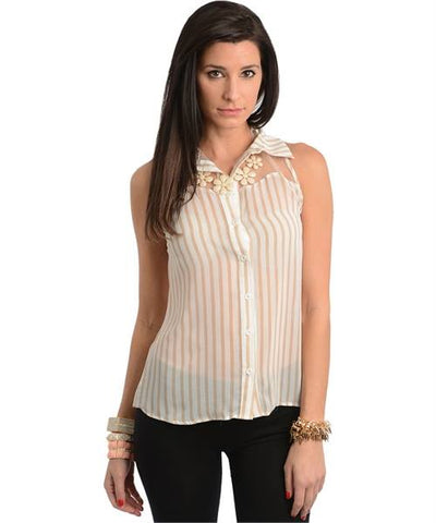 Sleeveless Beige Stripe Top