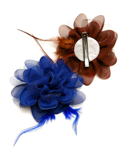 Hair Pin Lace Flower with Feather Assorted 101610