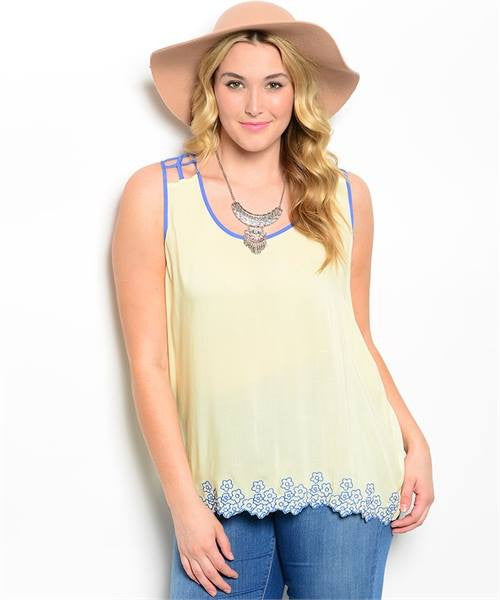 Top Sleeveless Yellow/Blue Trim 220377