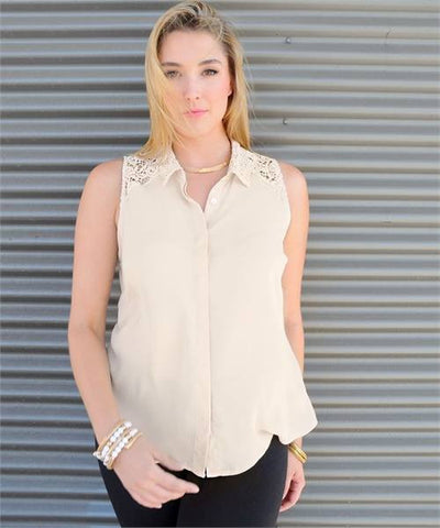 Plus Sleeveless Beige Top