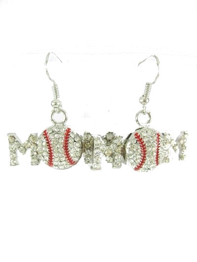 Earrings Baseball Mom Rhinestone Fish Hook
